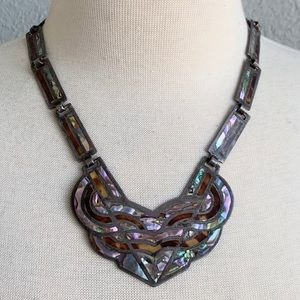 Vintage Taxco Mexico 925 Sterling Inlaid Necklace